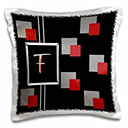 3dRose Modern Geometric black Red Grey Square Pattern Monogram Letter F - pillow Case, 16 by 16-Inch (pc_215223_1)