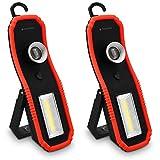 Navaris 2x Mobile LED Arbeitsleuchte - 2 Lichtmodi Haken und Magnet Halterung zum Aufhängen - Hochleistungs-Werkstattlampe Arbeitslampe tragbar