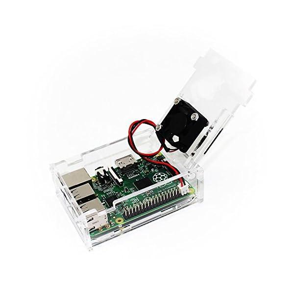 51B23yFQOpL. SS600  - TRIXES Caja Acrílica Transparente con Ventilador de Enfriamiento para Raspberry Pi Modelo B+, Raspberry Pi 2 Modelo B y Raspberry Pi 3