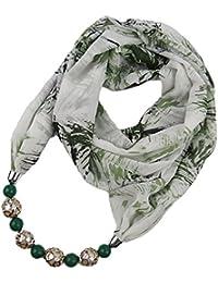 502cc7f92071 Fashionyoung FY Femmes Mode Bohème Impression Infinie Echarpe Perles  Mousseline Foulards Légers Boucle Collier Bijoux Snood