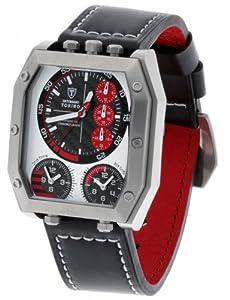 Detomaso Torino XXL - Reloj de cuarzo para hombres, con correa de cuero de color negro, esfera negra de DETOMASO