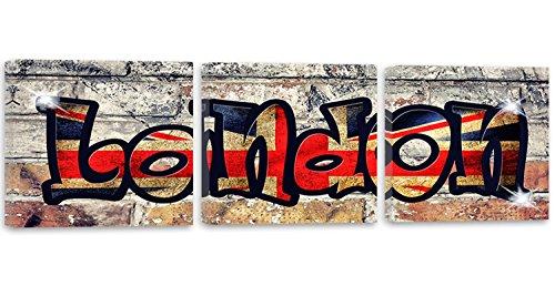 Feeby Frames, Tableau multi panneau - 3 parties - Panoramique, Tableau imprimé xxl, Tableau imprimé sur toile, Tableau deco, 150x50 cm, LONDRES, MUR, MUR, BRIQUE, ABSTRAIT, BLEU, ROUGE