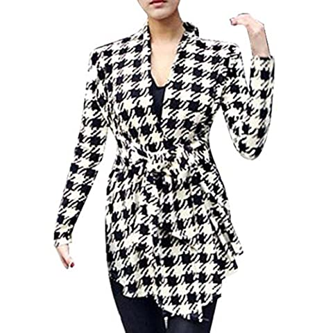 Tonsee Koreanisch Langarm Frauen Houndstooth Muster Dünne Strickjacke Mantel Jacke Outwear (M)