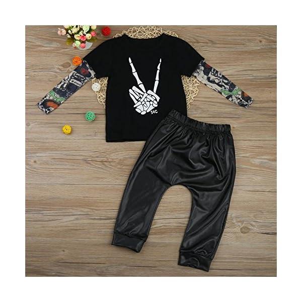 HCFKJ ReciéN Nacido NiñO Bebé Esqueleto Tatuaje Camiseta Tops Pantalones Ropa Conjunto 4