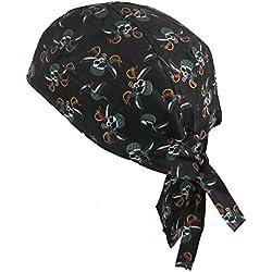 Bandana pañuelo para la cabeza pre atada calaveras del pirata sobre fondo  negro fce7a961cfe