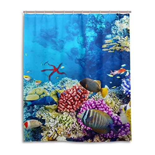 Fisch Duschvorhang Mit Klare (jstel Decor Duschvorhang Korallen und tropische Fische Muster Print 100% Polyester Stoff Vorhang für die Dusche 152,4x 182,9cm für Home Badezimmer Deko Dusche Bad Vorhänge)