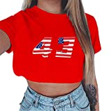 TUDUZ Brief Durck Tops Damen Sommer Tumblr Short Sleeves Tshirt Rundhals Loose Einfarbig Oberteil mit Nationalflagge Tank Top Crop Bluse(X-Rot,Large)