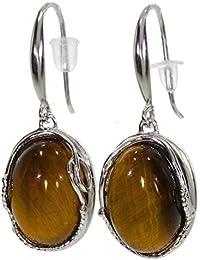 Ohrringe mit Tigerauge E 46-08 - Schmuck silbern-rhodiniert aus Tigerauge - Verschiedene Steine vorhanden - ARTIPOL