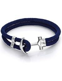 Italienisches Herren Armband in blau, mit Anker. DBA894. Wasser Sport, Segeln, Mode, Schmuck