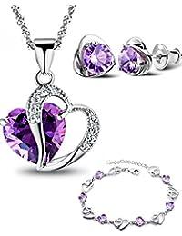Plaqué or Paure Zirconium Améthyste Violet Double Couer Pendentif Collier, Coeur Boucles d'oreilles et Coeur Bracelet
