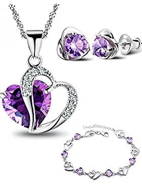 Damen Silber Vergoldet Lila Amethyst Herz Set Ohrringe und Anhänger Halskette + Armband .für Frauen Mädchen