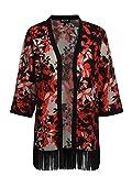 Mocca by J.L. Damen Kimono mit Druck und Fransen schwarz 44