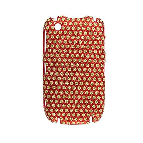 Glittery Gold-Ton Runde Muster-rote Kunststoff-Gehäuse für Blackberry Curve 8520 (Blackberry Gehäuse 8520)