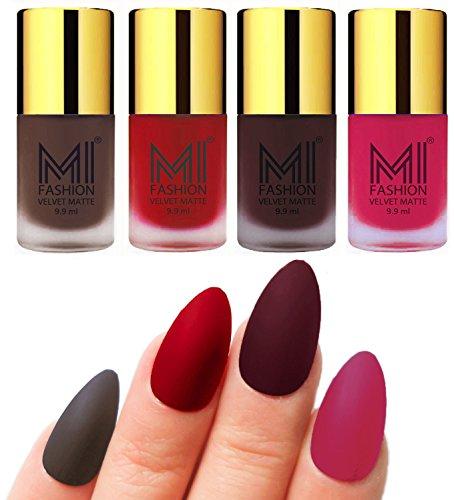 Matte Nail Polish Shades by MI Fashion®|Coffee Matte Nail Polish|Tomato Red Matte Nail Polish|Wine Matte Nail Polish|Pink Matte Nail Polish Combo of 4 Pcs|9.9ml