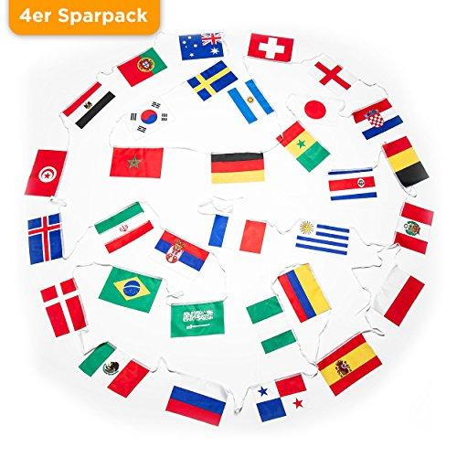PartyMarty 4er Sparpack XXL Fahnenkette zur WM 2018 in Russland - 12 Meter mit 32 Flaggen Fahnen - Flaggenkette Wimpelkette Girlande perfekt zur Fußball Weltmeisterschaft