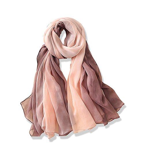 YFZYT Plain Farbe Seiden-Schal für Damen mit Feder Stickerei Muster/Elegantes Accessoire für...
