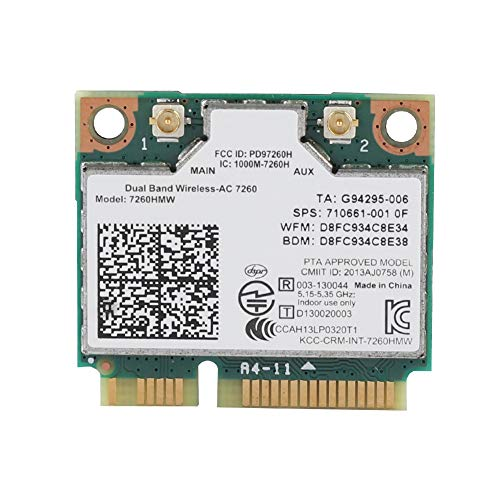 ASHATA WiFi Karte, High Speed 2,4 GHz + 5 GHz Universal PCI-E Wireless Bluetooth 4.0 WLAN Karte,Wireless Mini PCI-e Karte 867M Netzwerkkarte für Intel 7260AC Dell/Toshiba/Acer Laptop PC