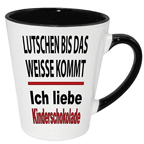 """Lustige Sprüche Tasse Latte Becher Schwarz """" Kinderschokolade """" Wählen Sie aus 45 Motiven."""