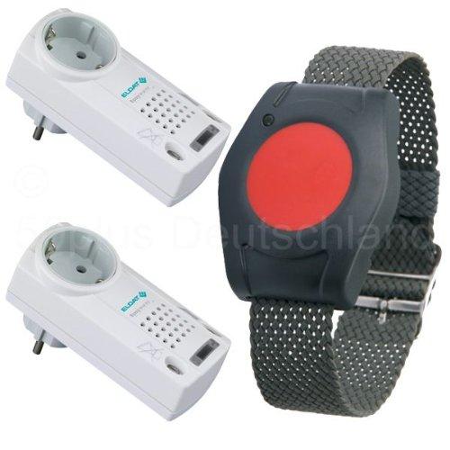 Pflegeruf-Set / Hausnotruf / Senioren-Hausalarm / Senioren-Sicherheitspaket 5 - (mit Funk-Armbandsender und zwei Steckdosen-Empfängern mit Quittierungsfunktion)