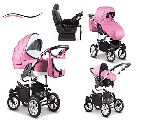 """17 teiliges Qualitäts-Kinderwagenset - Reisesystem 4 in 1\""""COSMO\"""": Kinderwagen + Buggy + Autokindersitz + Iso Base + Schwenkräder - Mega-Ausstattung - all inclusive Paket in Farbe (C-41) PINK-WEISS"""