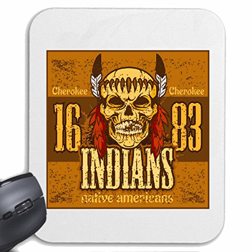 Reifen-Markt Mousepad (Mauspad) Cherokee Indianer Amerika Indians Indianer HÄUPTLING ROTHAUT Western Indians für ihren Laptop, Notebook oder Internet PC (mit Windows Linux usw.) in Weiß