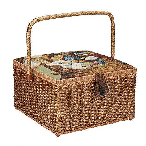 Näh-Aufbewahrungskorb, Vintage, handgewebt, Nähgarn, Nadeln, Fingerhüte, Aufbewahrungsbox, Nähen, Nähen, Zubehör, Organisieren von 12.6 × 12.6 × 19,1 cm