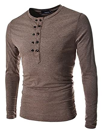 TheLees (DK13) Mens casual slim fit button point long sleeve tshirts DARKBROWN Large(UK Medium)