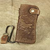 Hongtaixinhua Vintage Herren Dragon Clutch Bag Leder Lange Sicherheit Brieftasche Crazy Horse Leder...