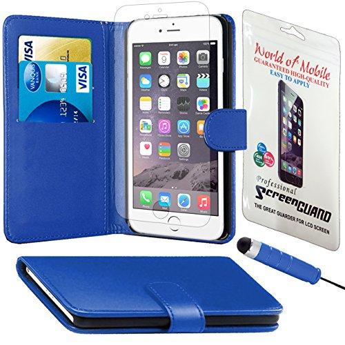 Monde de mobile®–Apple iPhone 4/4G/4S–QUALITÉ Premium Étui portefeuille à rabat en cuir synthétique avec film protecteur d'écran chiffon en microfibre Stylet + Écran LCD Blue Side Book Wallet
