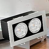 LED Decken Einbau-Strahler K2 kardanisch schwenkbar, Decken Leuchte Aluminium gebürstet inkl. 2x OSRAM GU10 LED STAR 4,3W LED warm-weiß