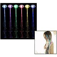 Itian Extensiones de pelo de fibra óptica LED, Extensiones de pelo de fibra óptica y LED, Rainbow Cambio De Color Iluminar Extensiones De Pelo De Fibra Óptica Pinza De Pelo (con enganche)