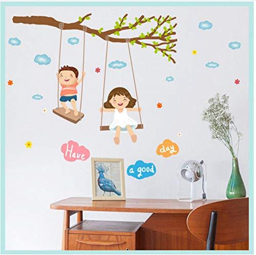 Cartoon Jungen Und Mädchen Swinging Wandaufkleber, Ast Wolken Kinderzimmer Kindheit Dekoration, Aufkleber Klar Drucken Diy Abziehbilder