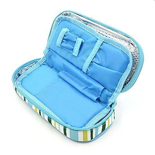 Apollowalker borsa termica per mantenere l'insulina e medicinali (blu + 2 impacchi di ghiaccio)