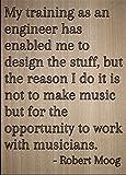 Mundus Souvenirs–My d'entraînement comme Un ingénieur A Enabled. Citation par Robert Moog, gravé au Laser sur Plaque en Bois–Dimensions: 20cm x 25cm