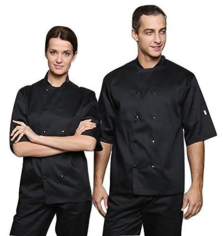 Dill Chefs Short Sleeve Studded Jacket Shirt (Black, L)