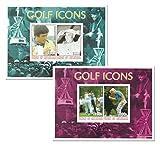 Golf Icons Stempel für Sammler mit 2 Blätter mit Seve Ballesteros, Ben Hogan, Lee Trevino und Greg Norman Set - 4 Briefmarken