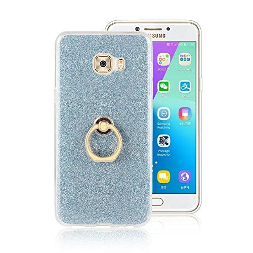 Luxus Bling Sparkle Style Case, Soft TPU [Silikon] Flexible Glitter Back Cover mit Fingerring Stand [Anti Scratch] [Shockproof] für Samsung Galaxy C7 Pro ( Color : Gold ) Blue