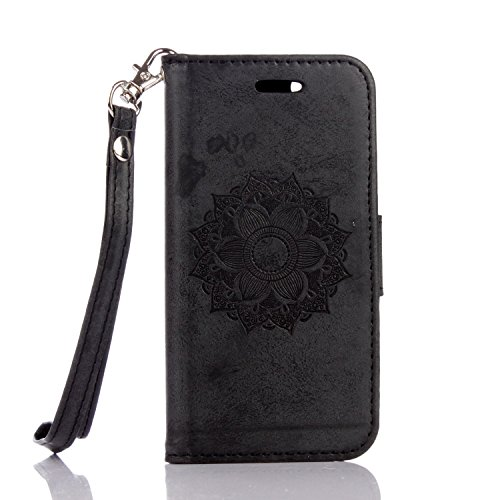 JIALUN-étui pour téléphone Pour IPhone 5 & 5s & SE Case, Solid Embossed With Card Slot, Lanyard Flat Open The Phone Shell ( Color : Black ) Black