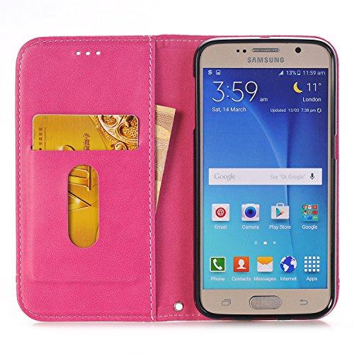 Hülle für Samsung Galaxy S6, Tasche für Samsung Galaxy S6, Case Cover für Samsung Galaxy S6, ISAKEN Farbig Blank Muster Folio PU Leder Flip Cover Brieftasche Geldbörse Wallet Case Ledertasche Handyhül Fadenkreuz Knopf Rosa