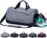CoCoCoMall Sporttasche mit Schuhfach und Nasstasche, Reisetasche für Damen und Herren - grau