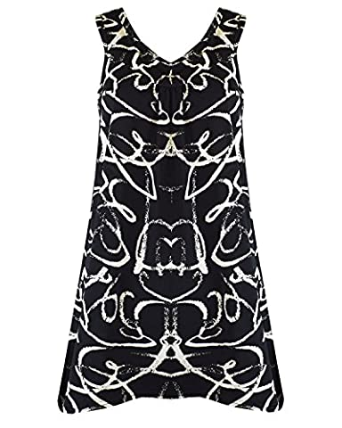 New Womens Ladies Top Sexy Summer Beach Party Gypsy Tunic Sleeveless Mini Dress Top Plus size 12-26 (UK SIZE 12-14, Black with big