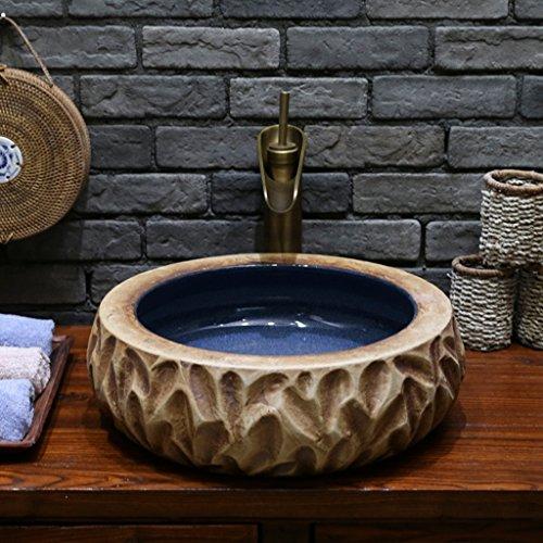 XLPXX Becken Keramik-Becken Hochtemperatur-Firing Porzellan-Kunst Waschbecken Waschbecken Verdickung Retro (Color : A)
