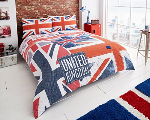 FOURTEEN STARS (SR) Denim Flagge Blau Signature Panel Duvet Set T152 (Multi, Single) (Blaue Twin-panel)