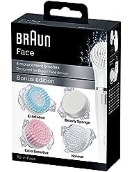 Braun Face 80-m Brosse Édition Bonus pour les Peaux Normales - Lot de 4 Brosses de Remplacement