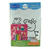 BRAND NEW PEPPA PIG COLOURING BOOK SET - COLOURING SHEETS - COLOURING PENCILS - REUSABLE STICKERS