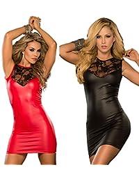Ostenx Sexy Minikleid Abendkleid Partykleid Elegant Pailletten Auffällig PU Leder