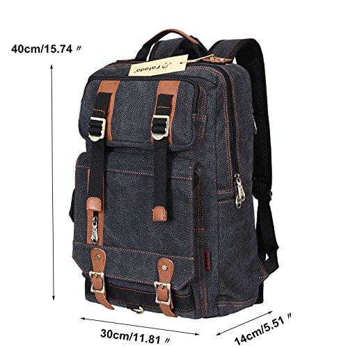 Imagen de fafada bolso lona  saco de viaje macuto bolso de la computadora bolsa de libros negro alternativa