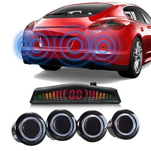 XOMAX XM-PS01 Einparkhilfe 4 Park-Sensoren für KFZ/Wohnmobil inkl. Mini LCD Anzeige + mit Bildschirm und Tonausgabe I 2,5 m Abtastungsdistanz I akustische Abstandsanzeige I Kabellänge: 5m