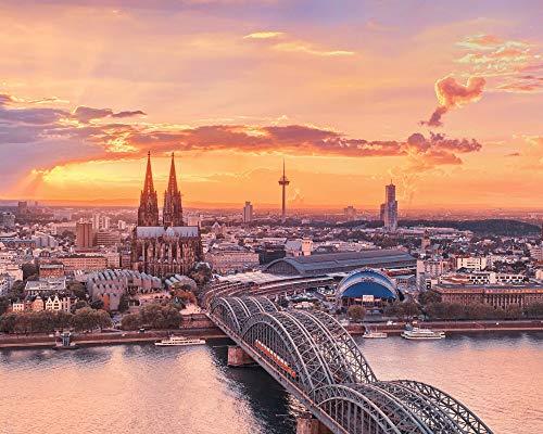OKOUNOKO Digitales Malen Nach Zahlen Für Erwachsene Köln Stadt Leinwand Färbung Bilder Modern DIY Kits Kunst Zimmer Einzigartig Dekor Geschenk Rahmenlos 40X50Cm