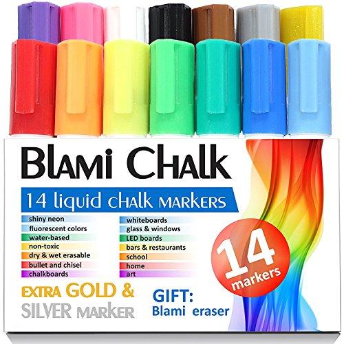 Blami artes marcadores de tiza con extra oro y plata de tinta. Juego de 12 rotuladores de tiza líquida brillante con reversible bala y cincel punta. ¡Liberad vuestra imaginación con bolígrafos líquidos de alta calidad ahora!